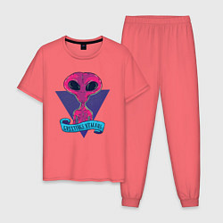 Пижама хлопковая мужская Пришелец цвета коралловый — фото 1