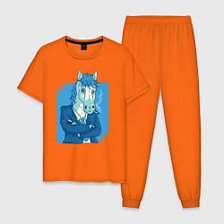 Пижама хлопковая мужская Лошадь-бизнесмен цвета оранжевый — фото 1