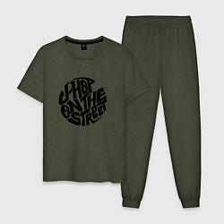 Пижама хлопковая мужская J-Hope: On the Street цвета меланж-хаки — фото 1
