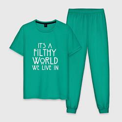 Пижама хлопковая мужская It's a filthy world we live in цвета зеленый — фото 1