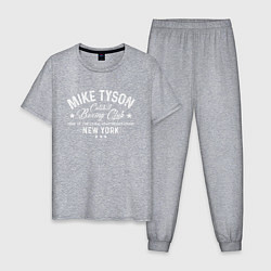 Пижама хлопковая мужская Mike Tyson: Boxing Club цвета меланж — фото 1