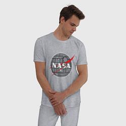 Пижама хлопковая мужская NASA: Death Star цвета меланж — фото 2