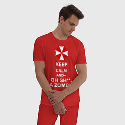 Пижама хлопковая мужская Keep Calm & Oh Sh**, A Zombie цвета красный — фото 2
