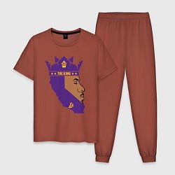 Пижама хлопковая мужская LeBron: The King цвета кирпичный — фото 1