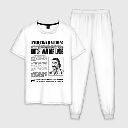 Пижама хлопковая мужская RDR II: Proclamation цвета белый — фото 1
