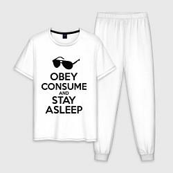 Пижама хлопковая мужская Obey consume цвета белый — фото 1