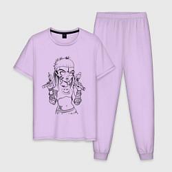 Пижама хлопковая мужская Yo-landi цвета лаванда — фото 1