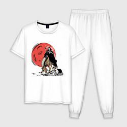 Пижама хлопковая мужская Темный всадник цвета белый — фото 1