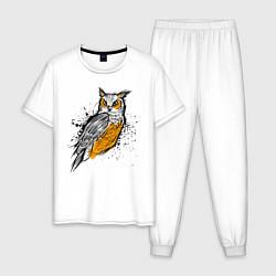 Пижама хлопковая мужская Зрячий филин цвета белый — фото 1