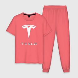 Пижама хлопковая мужская TESLA Mobile цвета коралловый — фото 1