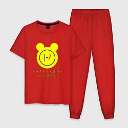Пижама хлопковая мужская 21 Pilots: Yellow Mouse цвета красный — фото 1