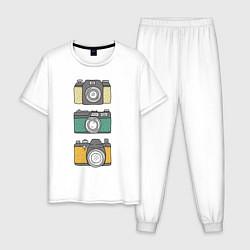 Пижама хлопковая мужская Реальный фотограф цвета белый — фото 1