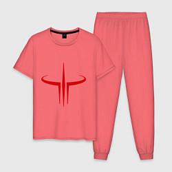 Пижама хлопковая мужская Quake logo цвета коралловый — фото 1