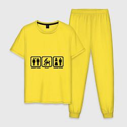 Пижама хлопковая мужская Плати, играй, конец игры цвета желтый — фото 1