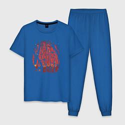 Пижама хлопковая мужская Фантастическая жизнь цвета синий — фото 1