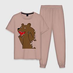 Пижама хлопковая мужская Медведь цензурный цвета пыльно-розовый — фото 1