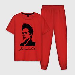 Пижама хлопковая мужская Jared Leto цвета красный — фото 1