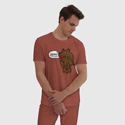 Пижама хлопковая мужская Медведь-качок: дрищ цвета кирпичный — фото 2