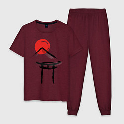 Пижама хлопковая мужская Японский стиль цвета меланж-бордовый — фото 1
