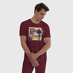 Пижама хлопковая мужская Солнце, песок, море цвета меланж-бордовый — фото 2