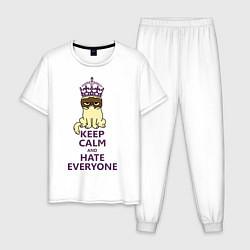 Пижама хлопковая мужская Keep Calm & Hate Everyone цвета белый — фото 1