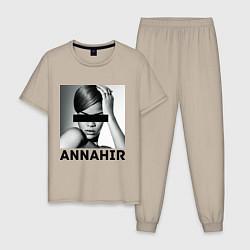 Пижама хлопковая мужская Rihanna цвета миндальный — фото 1