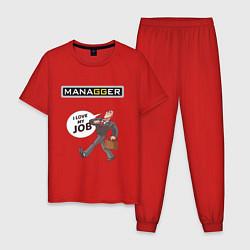 Пижама хлопковая мужская MANAGGER цвета красный — фото 1
