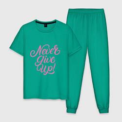 Пижама хлопковая мужская Never Give Up цвета зеленый — фото 1