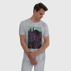 Пижама хлопковая мужская Дьявол цвета меланж — фото 2