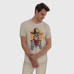 Пижама хлопковая мужская Ковбой цвета миндальный — фото 2
