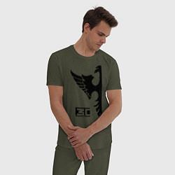 Пижама хлопковая мужская 30 seconds to mars цвета меланж-хаки — фото 2