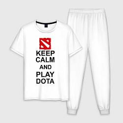 Пижама хлопковая мужская Keep Calm & Play Dota цвета белый — фото 1