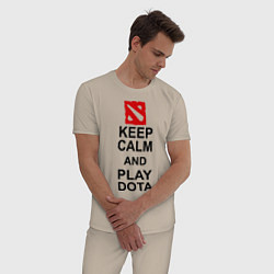 Пижама хлопковая мужская Keep Calm & Play Dota цвета миндальный — фото 2