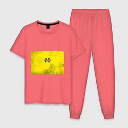 Пижама хлопковая мужская Metro Exodus: Yellow Grunge цвета коралловый — фото 1