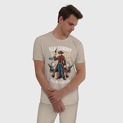 Пижама хлопковая мужская Real Cowboy цвета миндальный — фото 2