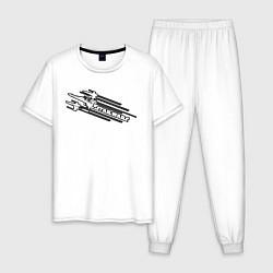 Пижама хлопковая мужская Star Wars: Cosmic Ships цвета белый — фото 1
