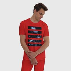 Пижама хлопковая мужская Звезда смерти цвета красный — фото 2