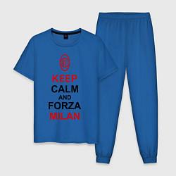 Пижама хлопковая мужская Keep Calm & Forza Milan цвета синий — фото 1