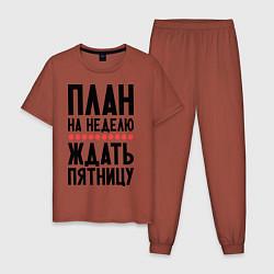 Пижама хлопковая мужская План на неделю цвета кирпичный — фото 1