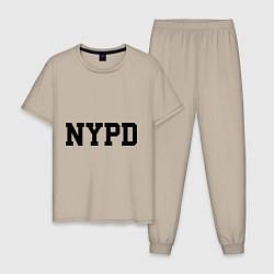 Пижама хлопковая мужская NYPD цвета миндальный — фото 1