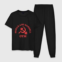 Пижама хлопковая мужская Sickle & Barbell: Gym цвета черный — фото 1