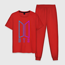 Пижама хлопковая мужская BTS: Neon Night цвета красный — фото 1
