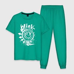 Пижама хлопковая мужская Blink-182: Smile цвета зеленый — фото 1