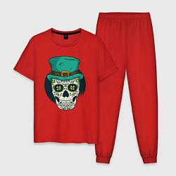 Пижама хлопковая мужская Череп Святого Патрика цвета красный — фото 1