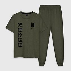 Пижама хлопковая мужская BTS Korea цвета меланж-хаки — фото 1