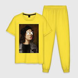 Пижама хлопковая мужская Raphael Hype цвета желтый — фото 1