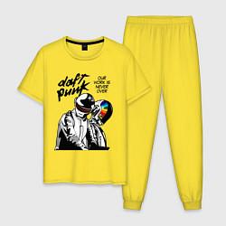 Пижама хлопковая мужская Daft Punk: Our work is never over цвета желтый — фото 1