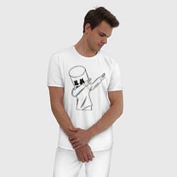 Пижама хлопковая мужская Marshmello: I was there цвета белый — фото 2