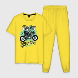 Пижама хлопковая мужская Vintage Moto цвета желтый — фото 1