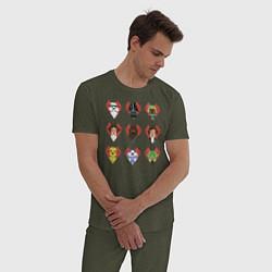 Пижама хлопковая мужская Star Wars Love цвета меланж-хаки — фото 2